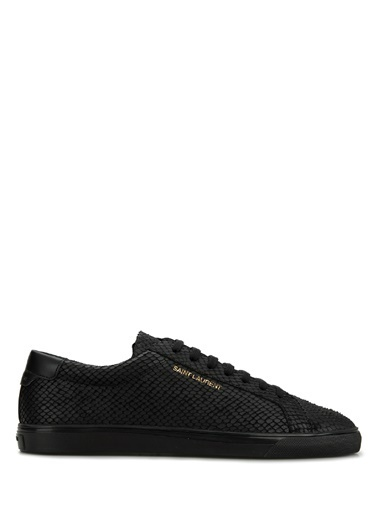 Saint Laurent Saint Laurent  Dokulu Erkek Deri Sneaker 101622198 Siyah